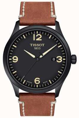 Tissot | męskie xl | czarna tarcza | brązowy skórzany pasek | T1164103605700