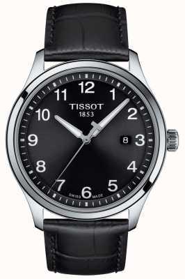 Tissot | męskie xl | czarna tarcza | czarny skórzany pasek | T1164101605700