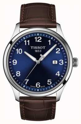 Tissot | męskie xl | niebieska tarcza | brązowy skórzany pasek | T1164101604700