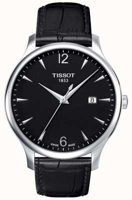 Tissot | męskie tradycyjne | czarny skórzany pasek | czarna tarcza | T0636101605700