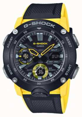 Casio | G-shock węglowa osłona rdzenia | czarny żółty pasek | GA-2000-1A9ER