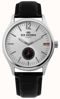 Ben Sherman | męskie miasto harrison | srebrna tarcza | czarna skóra krokodyla | WB035B