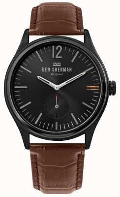 Ben Sherman | męskie miasto harrison | czarna tarcza | brązowa skóra krokodyla | WB035T