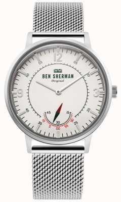 Ben Sherman | dziedzictwo portobello męskie | biała tarcza | siatka nierdzewna WB034SM