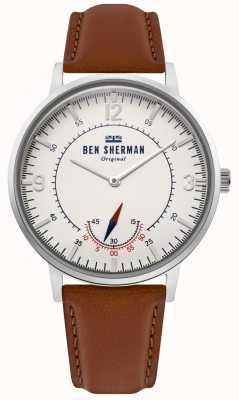 Ben Sherman | dziedzictwo portobello męskie | biała tarcza | brązowa skóra | WB034T