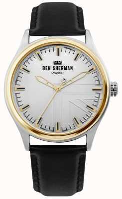 Ben Sherman | mężczyzna harrison | czarny skórzany pasek | srebrna tarcza | WB036B