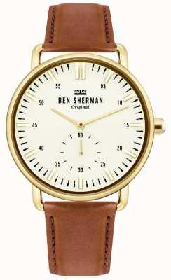 Ben Sherman | męskie miasto brighton | brązowy skórzany pasek | biała tarcza | WB033TG