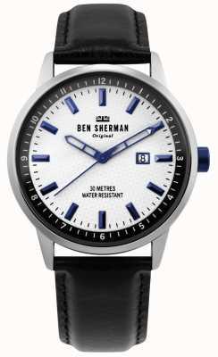 Ben Sherman | męskie daltrey professional | czarna skóra | biała tarcza | WB030B
