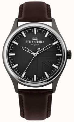 Ben Sherman | mężczyzna harrison | brązowy skórzany pasek | czarna tarcza | WB036T