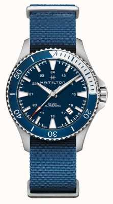 Hamilton | automatyczna marynarka w kolorze khaki navy | niebieski pasek z tkaniny | niebieska tarcza H82345941