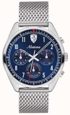 Scuderia Ferrari | męskie abetone | niebieska tarcza | srebrna bransoletka z siatki | 0830572
