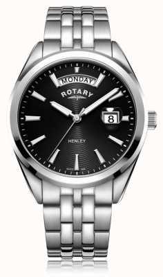 Rotary | męskie henley | czarna tarcza | bransoleta ze stali nierdzewnej | GB05290/04
