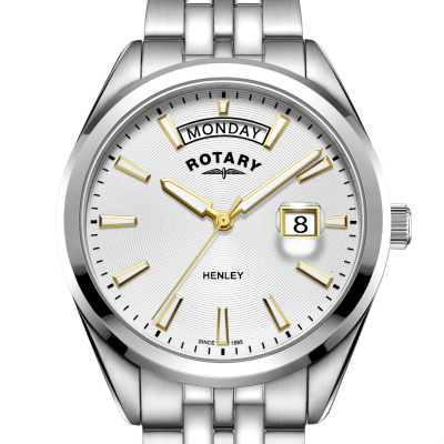 Rotary | męskie henley | biała tarcza | srebrna bransoleta ze stali nierdzewnej GB05290/70