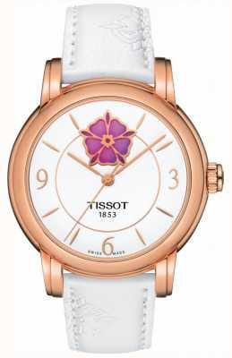 Tissot Damski kwiatek na serce powermatic 80 biały skórzany pasek T0502073701705