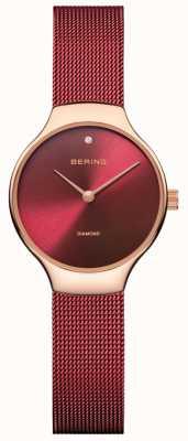 Bering | zegarek charytatywny dla kobiet | czerwony pasek z siatki | czerwona tarcza | 13326-CHARITY