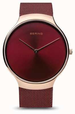 Bering | zegarek charytatywny dla kobiet | czerwony pasek z siatki | czerwona tarcza | 13338-CHARITY