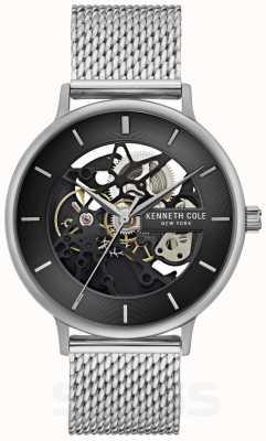 Kenneth Cole | męskie automatyczne | bransoleta z siatki stalowej | czarna tarcza | KC50780005