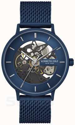 Kenneth Cole | męskie automatyczne | niebieski pasek z siatki | niebieska tarcza | KC50780003