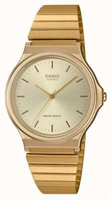 Casio   zegarek okrągły vintage   bransoletka z możliwością rozbudowy   złota tarcza   MQ-24G-9EEF