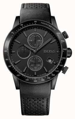 Hugo Boss | mężczyzna rafale chronograf | czarna tarcza | czarny skórzany pasek 1513456