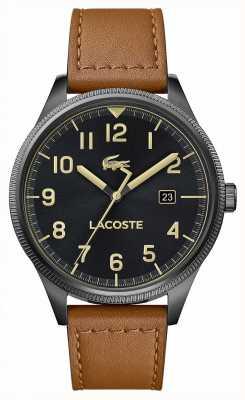 Lacoste | męskie kontynentalne | brązowy skórzany pasek | czarna tarcza | 2011021