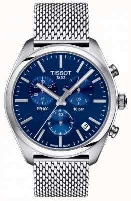 Tissot | męski chronograf pr100 | bransoletka z siateczki | niebieska tarcza | T1014171104100