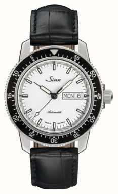 Sinn 104 st sa iw klasyczny pilotowy zegarek ze skóry aligatora 104.012 BLACK EMBOSSED LEATHER BLACK STITCHING