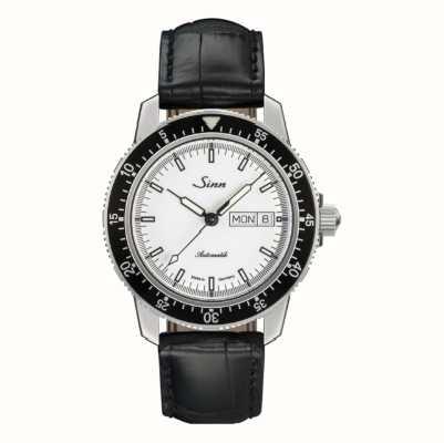Sinn 104 st sa iw klasyczny zegarek pilotkowy skóra tłoczona z aligatora 104.012 BLACK EMBOSSED LEATHER BLACK STITCHING