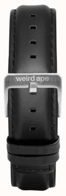 Weird Ape Czarna skórzana klamra w kolorze srebrnym 16mm ST01-000045