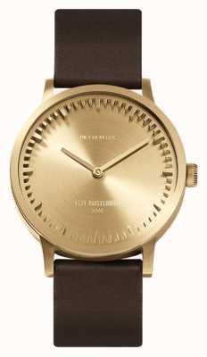 Leff Amsterdam | zegarek na tubę | t32 | mosiądz | brązowy skórzany pasek | LT74323