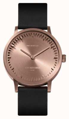 Leff Amsterdam | zegarek z rurką | t32 | różowe złoto | czarny skórzany pasek | LT74414