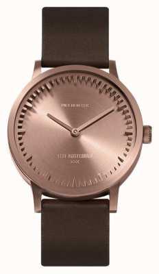 Leff Amsterdam | zegarek na tubę | t32 | różowe złoto | brązowy skórzany pasek | LT74424