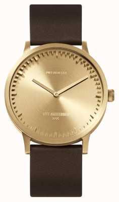 Leff Amsterdam | zegarek na tubę | t40 | mosiądz | brązowy skórzany pasek | LT75323