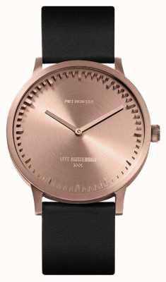 Leff Amsterdam | zegarek na tubę | t40 | różowe złoto | czarny skórzany pasek | LT75414