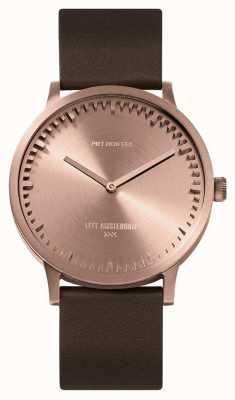 Leff Amsterdam | zegarek na tubę | t40 | różowe złoto | brązowy skórzany pasek | LT75424