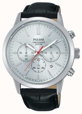 Pulsar | chronograf męski | srebrna tarcza | czarny skórzany pasek | PT3749X1