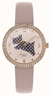 Radley | damski różowy skórzany pasek | wyciąć tarczę psa | zestaw kryształów RY2806