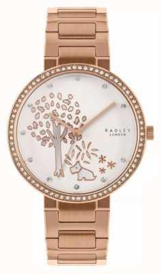 Radley | damska bransoleta ze stali w kolorze różowego złota | biała tarcza z motywem drzewa | RY4388