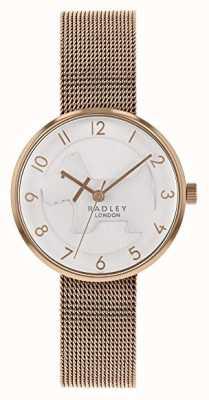 Radley   damska bransoletka z różowego złota   biała tłoczona tarcza dla psa   RY4392
