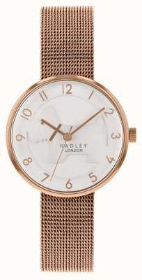 Radley | damska bransoletka z różowego złota | biała tłoczona tarcza dla psa | RY4392