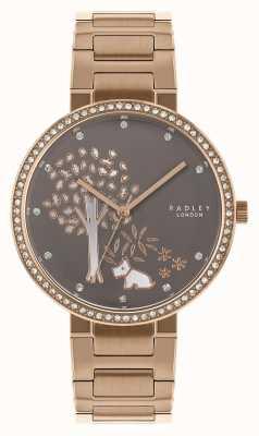 Radley | damska bransoleta ze stali w kolorze różowego złota | biała / szara tarcza | RY4386