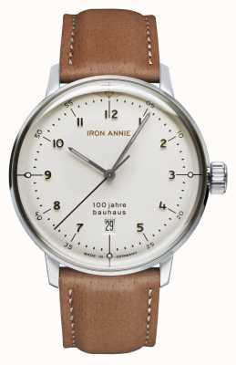 Iron Annie Bauhaus | biała tarcza | brązowy skórzany pasek 5046-1