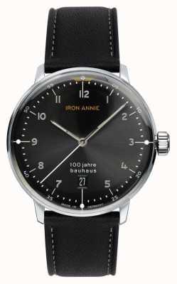 Iron Annie Bauhaus | czarna tarcza | czarny skórzany pasek 5046-2