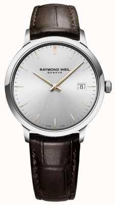 Raymond Weil | męskie toccata | brązowy skórzany pasek | srebrna tarcza | 5485-SL5-65001
