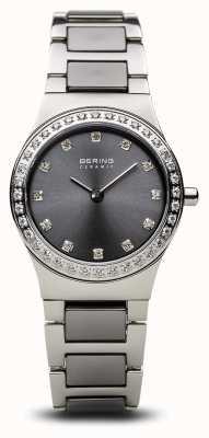 Bering | damskie ceramiczne polerowane srebro | zestaw kryształów | szara tarcza | 32426-703