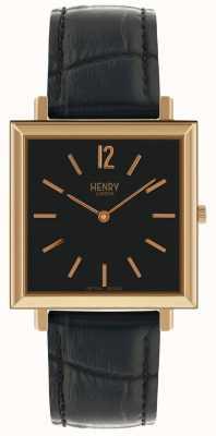 Henry London Zegarek skórzany z czarną tarczą, kwadratowy, czarny, skórzany HL34-QS-0270