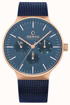 Obaku | mężczyzna ocean mos | niebieska siatka | niebieska tarcza chronografu | V229GMVLML