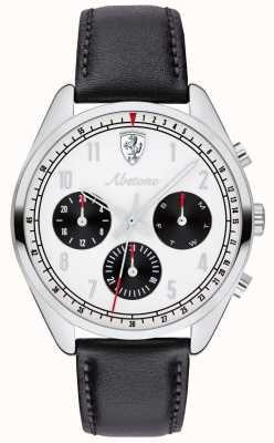 Scuderia Ferrari Męski skórzany pasek z czarnego abetonu zegarka biała tarcza 0830569