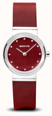 Bering Damskie | klasyczny | czerwona bransoletka z siatki ze stali pvd 10126-303