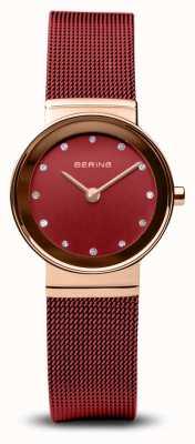 Bering Damskie | klasyczny | czerwona bransoletka z siatki ze stali pvd 10126-363